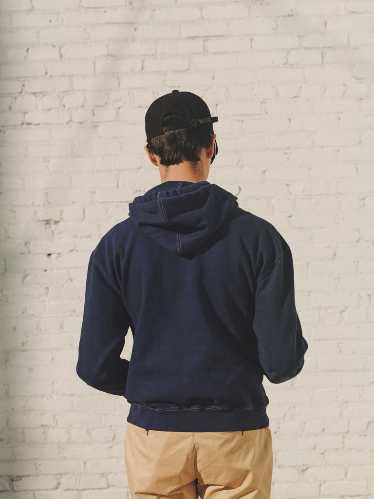 Navy Garment Dye Organic Cotton Sweatshirt Fleece Hoodie