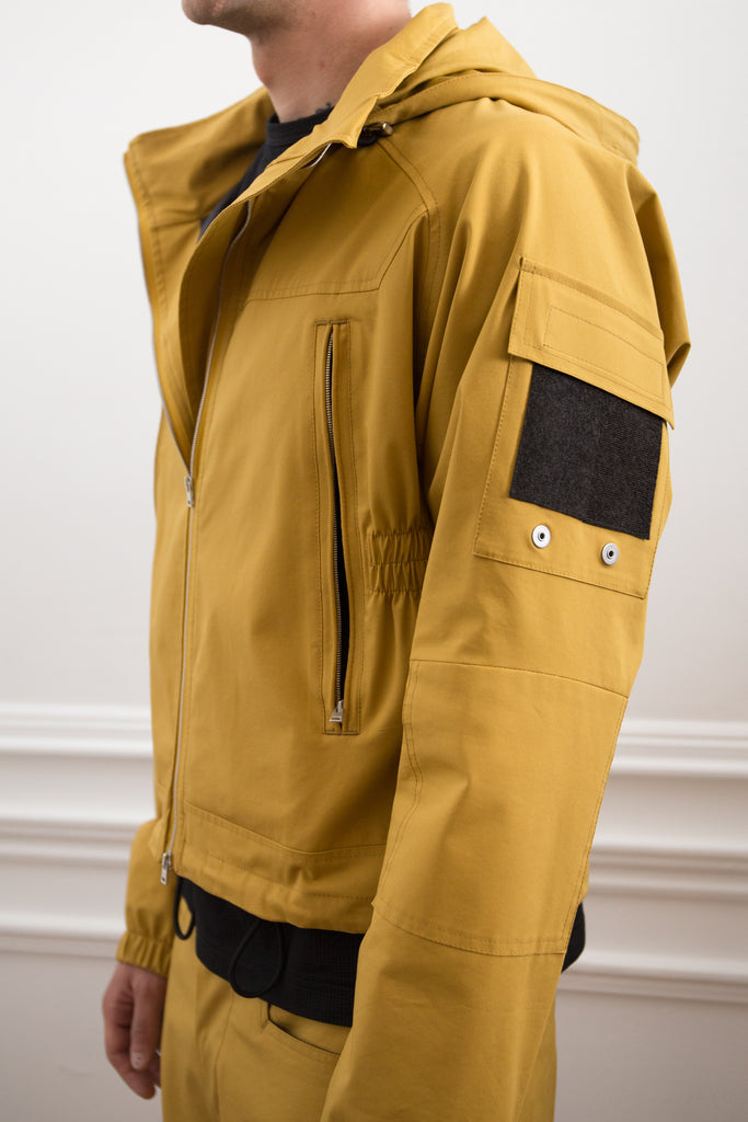 [vendor_title] Mustard Cropped Technical Hooded Jacket - DEPARTAMENTO