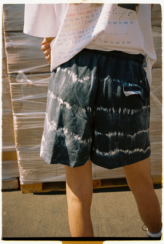Black Tie-Dye Washed Tencel Shorts