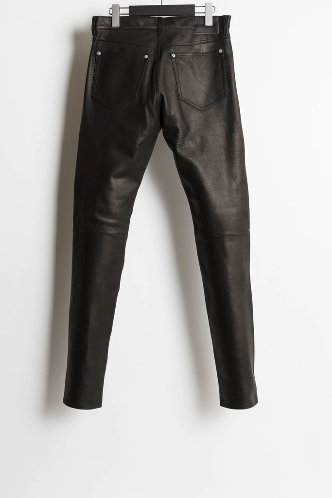 [vendor_title] Black Calfskin 5 Pocket Leather Pants - DEPARTAMENTO