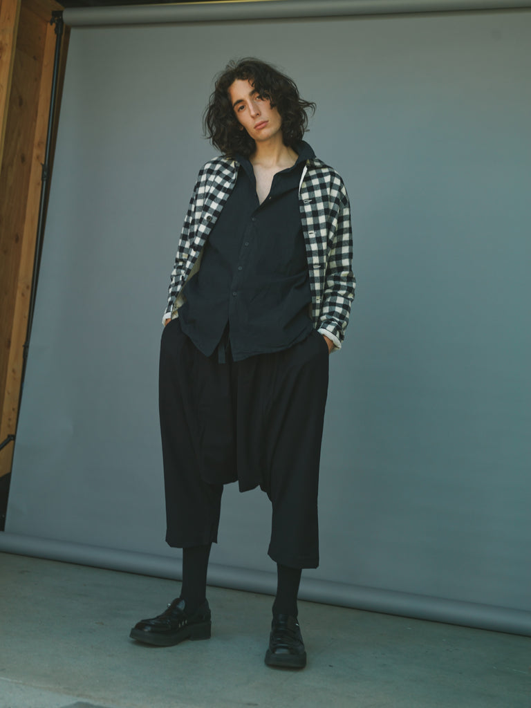 Wool Check Cotton Lined Pyjama Shirt