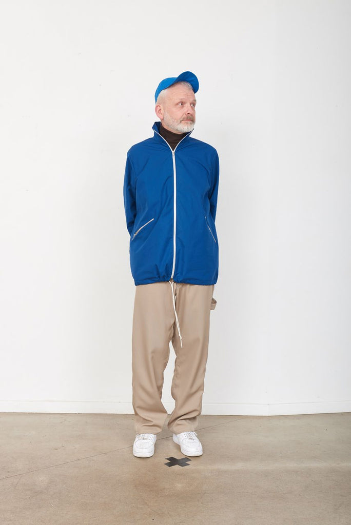 Blue Waxed Cotton Loose Track Jacket