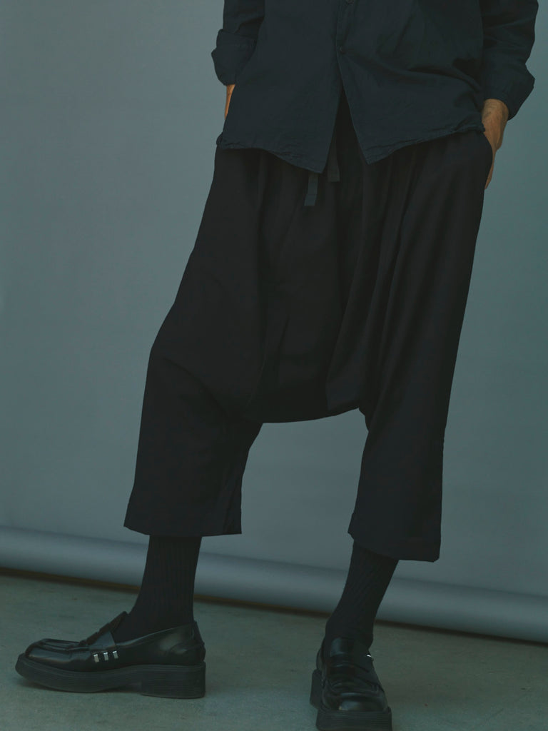 Dark Navy Wool Drawstring Pleated H Pant