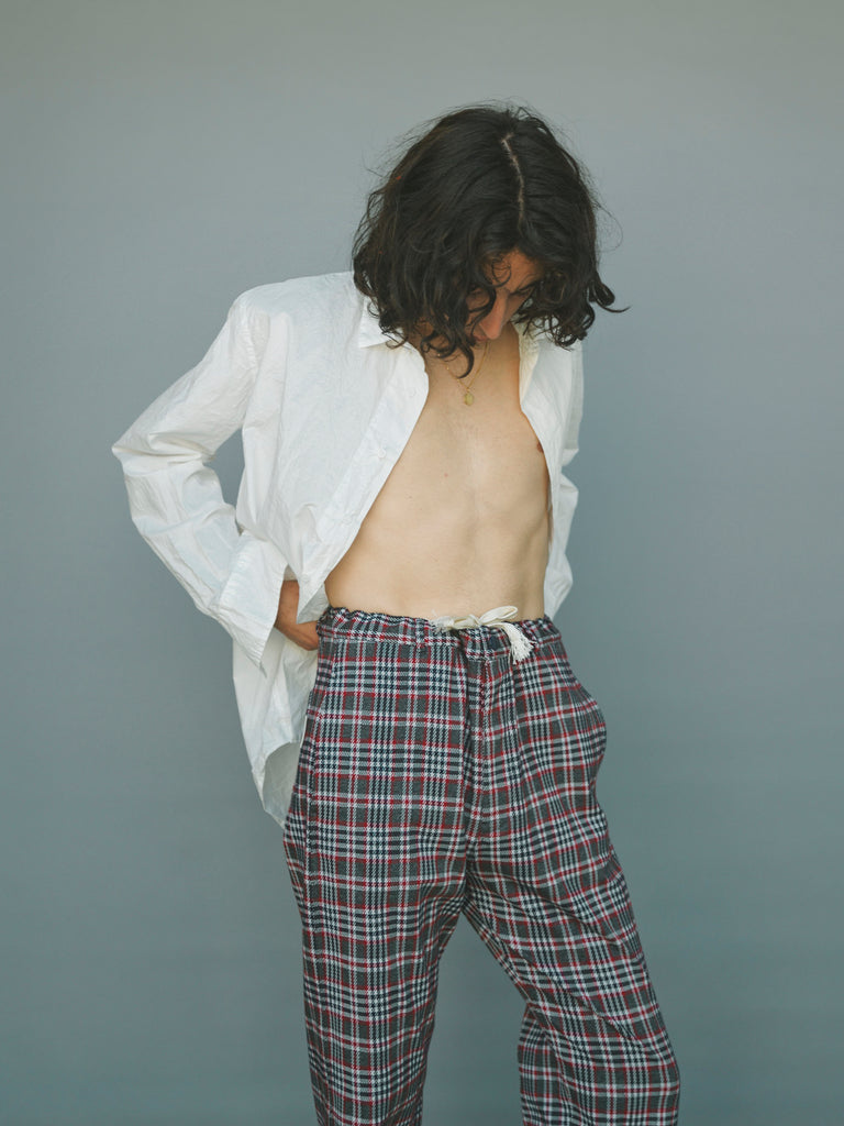 Red & Black Check Twill Drawstring Pajama Trouser