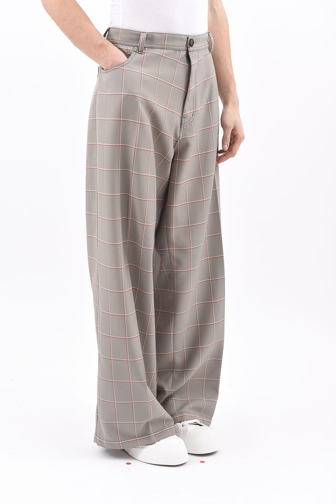 Grey Windowpane Check Wide Leg Trouser