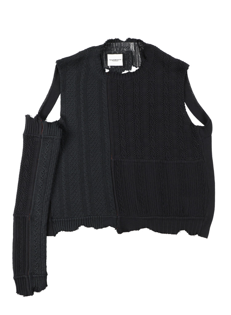 One Sleeve Cotton Knit Dystopia Sweater