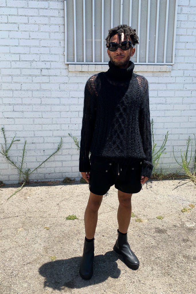 Black Wool Cobweb Knit Turtleneck Aran Sweater