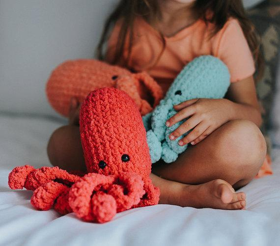Lewie & Berg Littles - Crochet Stuffed Animal Octopus Toy Nautical Sea Creature