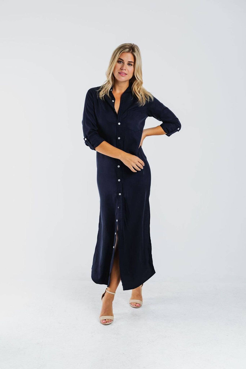 Emily Phillips Clothing - Navy Tencel Maxi Dress