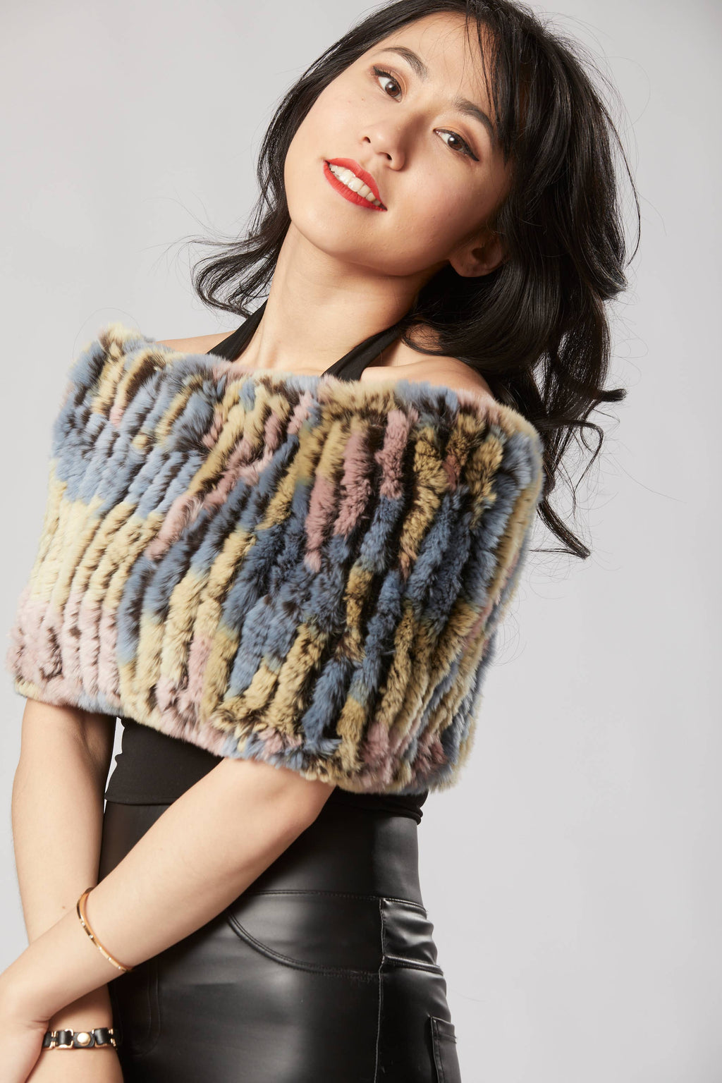 Opulence Fluff - Griselle Shrug/ Cape/ Scarf - Multi Blue, Yellow, Beige