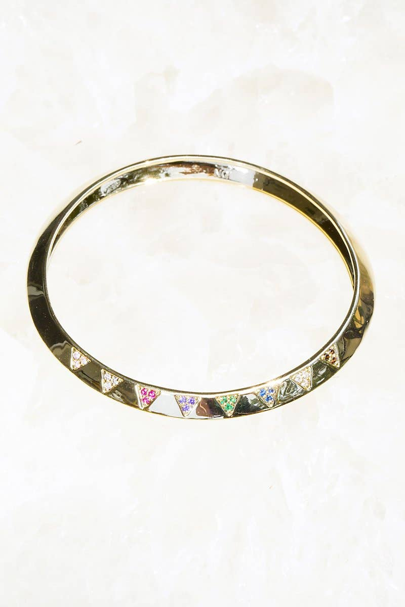 Native Gem - LIGHTNING bangle in rainbow +14K gold vermeil