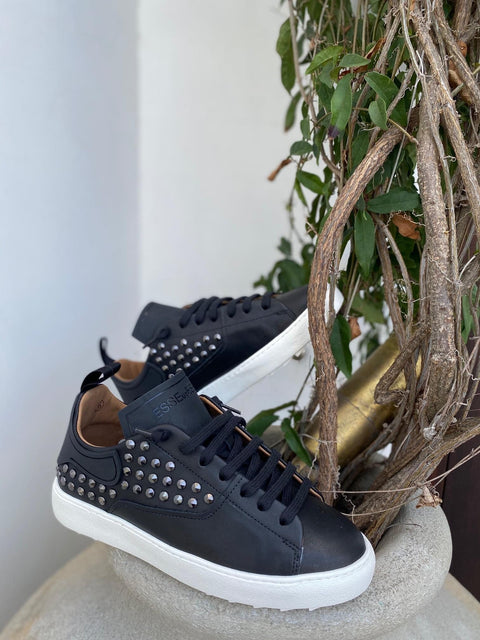 Studded Black Leather Sneakers