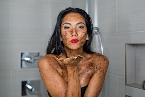 Blowing kiss with coffee scrub