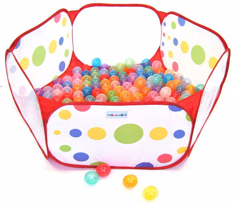 Hexagon Polka Dot Children Twist Playpen w/ Safety Meshing for Child Play Visibility & Carry Tote - eWonderWorld