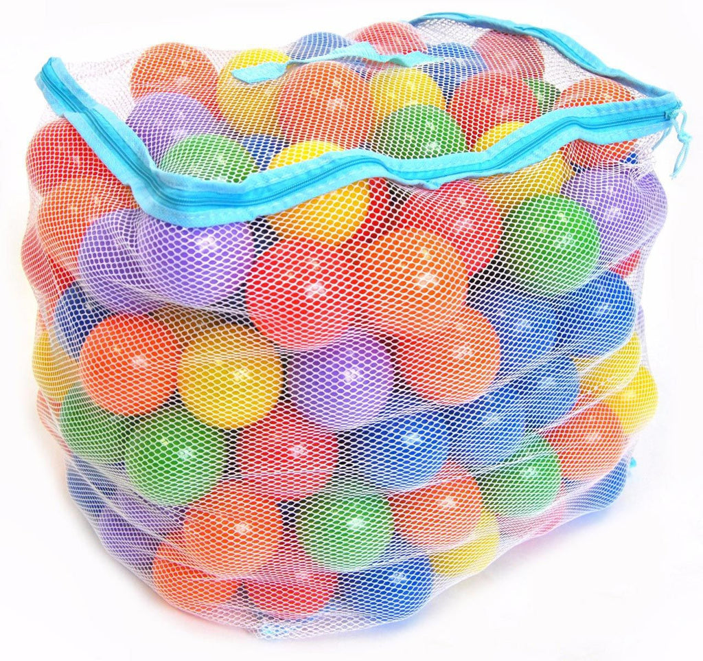 200 ball pit balls in blue mesh bag