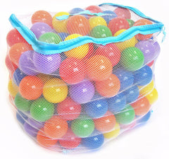Image of 200 Non-Toxic 6.5cm Crush Proof Non-Recycled Ball Pit Balls w/ Mesh Bag: 6 Colors