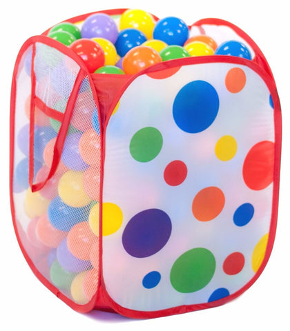 200 ball pit balls in polka dot hamper