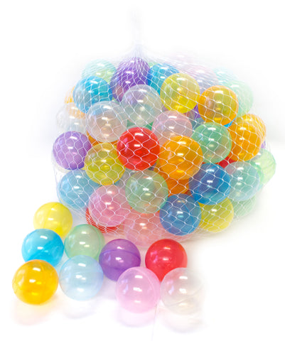 Wonder Playball 100 Invisiball Crush Proof Clear Ball Pit Balls W/ Net Tote