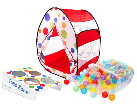 Polka Dot Twist Tent, 200 Invisiball & Wonder Toss Zone Play Set - eWonderWorld