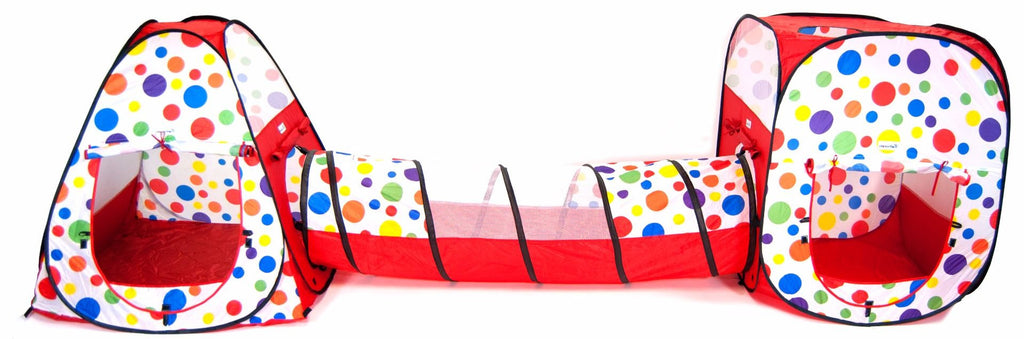 Polka Dot Teepee & Square Play Zone Twist Tent w/ Tunnel, Safety Meshing - 3 Piece - eWonderWorld