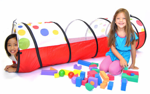 Girls Playing in Polka Dot Crawl Tunnel