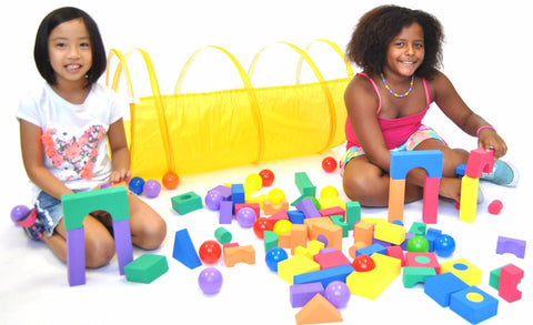 Sunshine Yellow Development Kids Play Tunnel w/ Meshing & Tote Bag - eWonderWorld