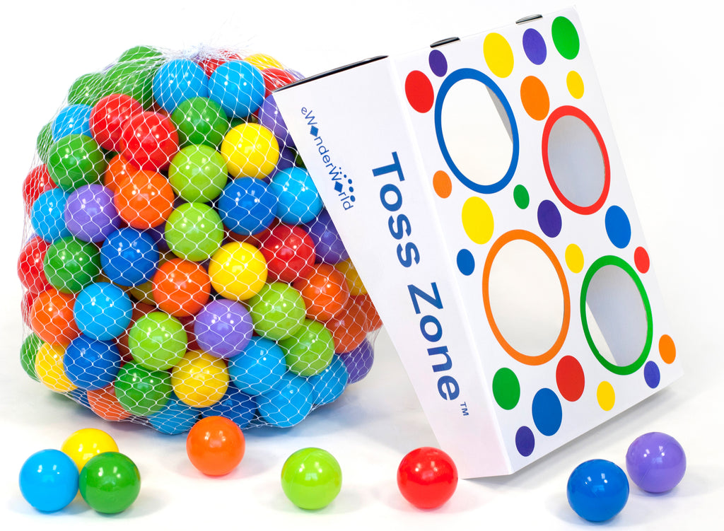 200 Wonder Non-Toxic Crush-Proof Phthalate Play Ball Net w/ Free Toss Zone Game - eWonderWorld