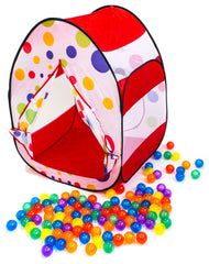 Red Polka Dot Tent w/ 100 Non-Toxic Rainbow Invisiballs - eWonderWorld