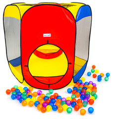 Six Sided Hexagon Play Tent w/ 100 Crush-Proof Rainbow Invisiballs - eWonderWorld