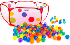 Image of Polka Dot Hexagon Playpen w/ 100 Rainbow Invisiballs Ball Pit Balls