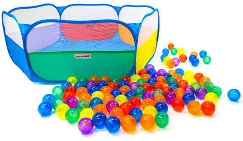 Rainbow Hexagon Playpen w/ 100 Crush-Proof Non-Toxic Rainbow Invisiballs Ball Pit Balls - eWonderWorld