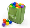 Image of 100 crush proof ball pit balls with reusable shopping tote