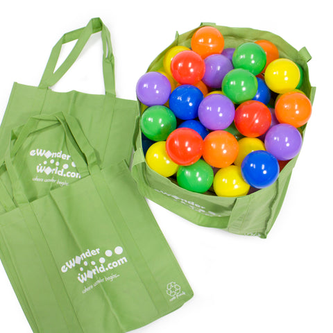 100 crush proof play balls in reusable green shopping tote