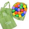 Image of 100 crush proof play balls in reusable green shopping tote