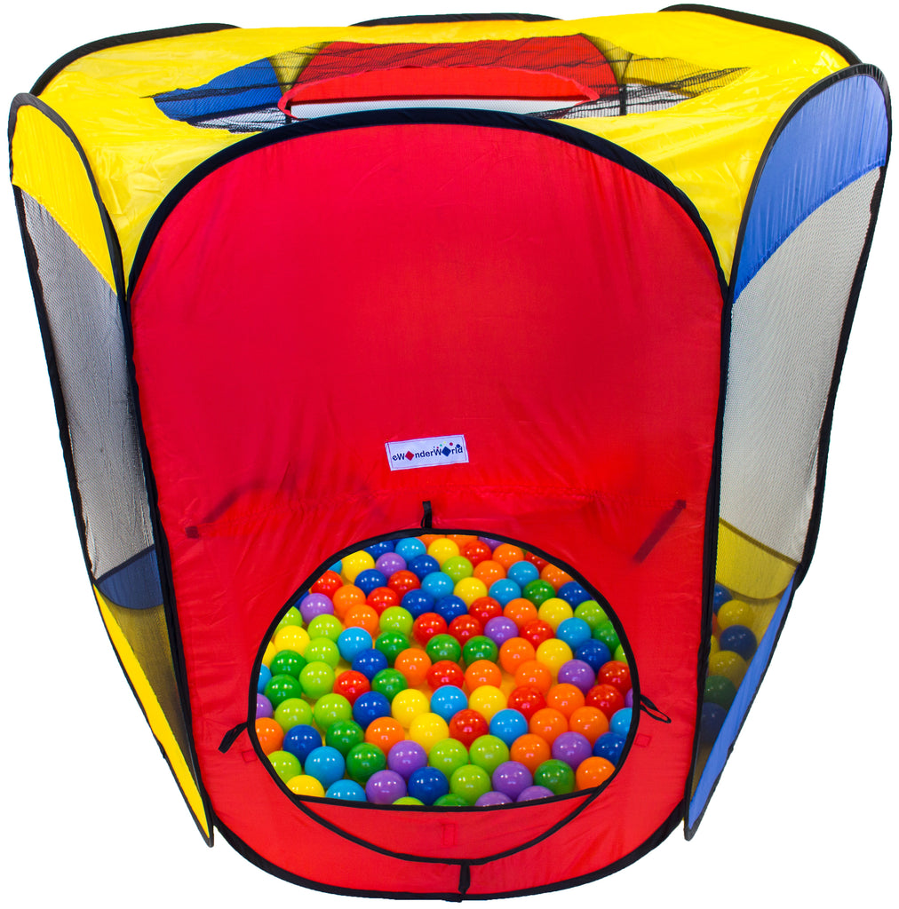 Six-Sided Hexagon Play Tent w/ 200 Wonder Crush-Proof Non-Toxic Play Balls - eWonderWorld