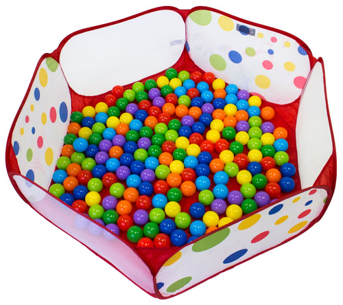 200 Non-Toxic Crush-Proof Wonder Play Balls w/ Polka Dot Hexagon Playpen