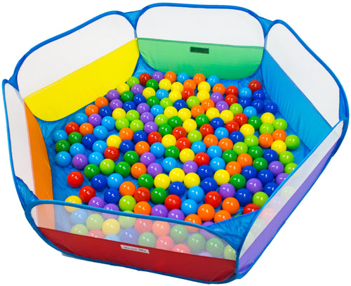 200 Non-Toxic Crush-Proof Wonder Play Balls w/ Rainbow Hexagon Playpen