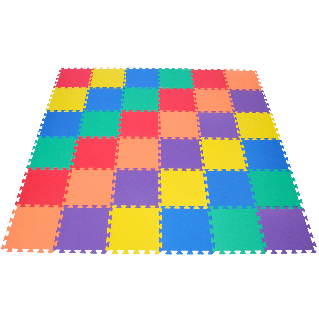 Non Toxic Rainbow 6 Colors Wonder Mats Interlocking Foam 36 Pieces