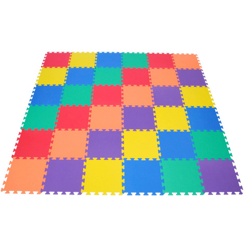 Non-Toxic Rainbow (6 Colors) Wonder Mats Interlocking Foam Mats: 36 Pieces