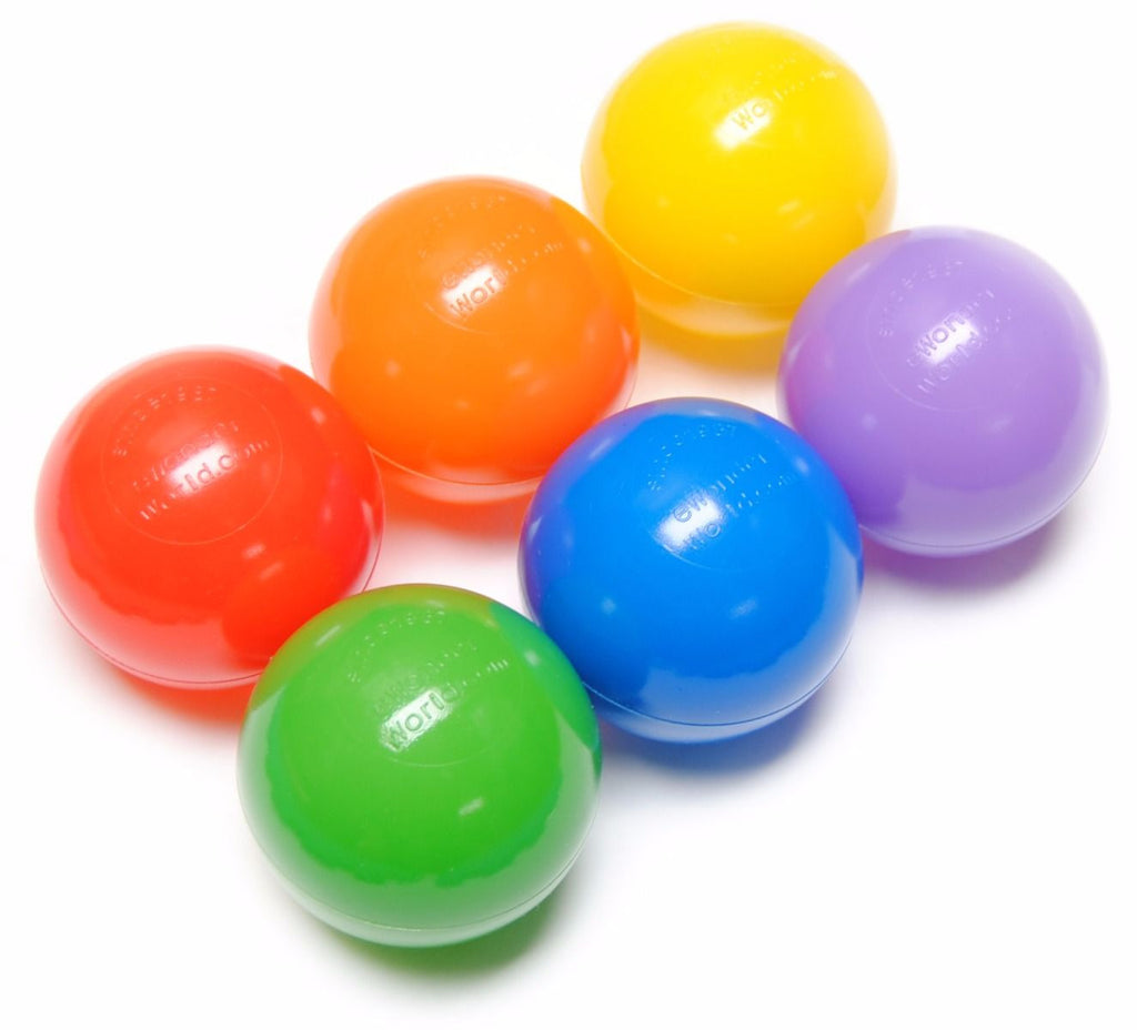 "200 Non-Toxic 6.5cm Crush Proof Non-Recycled Ball Pit Balls w/ Mesh Bag: 6 Colors ""Phthalate Free"" - eWonderWorld"