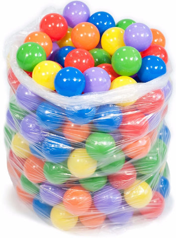 200 Crush Proof Plastic Ball Pit Balls 6 Color - eWonderWorld