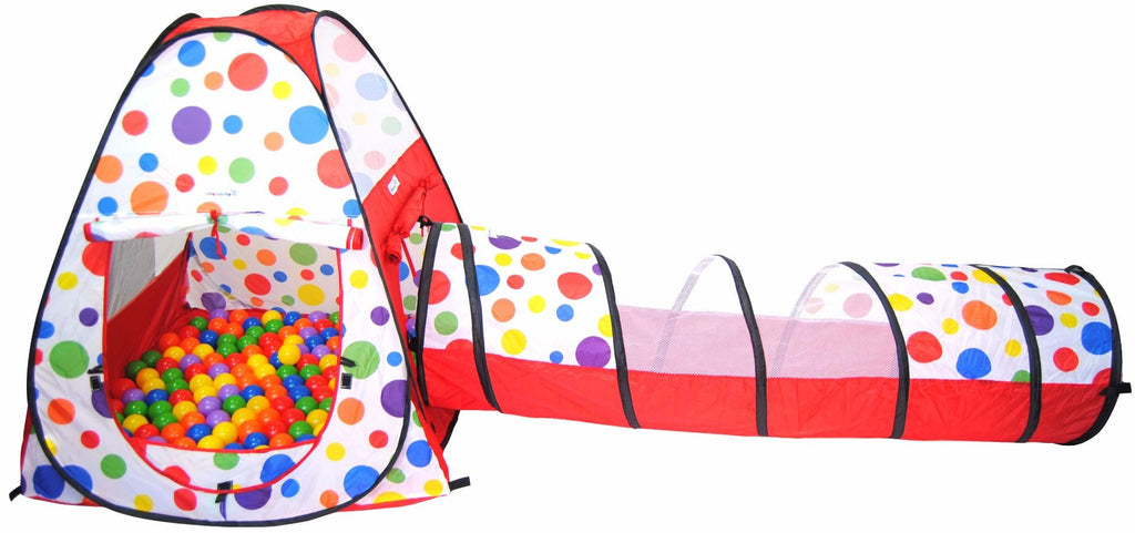 Polka Dot Teepee Play Tent House w/ Safety Meshing & Tunnel: 2 Piece - eWonderWorld