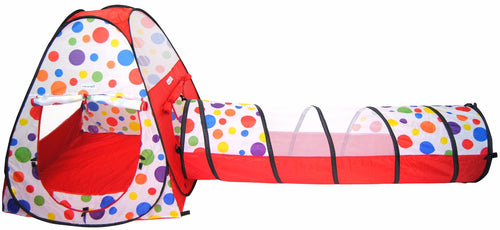 Polka Dot Teepee Play Tent House w/ Safety Meshing & Tunnel: 2 Piece