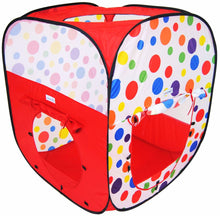 Polka Dot Rectangular Twist Play Tent w/ Safety Meshing & Tunnel: 2 Piece