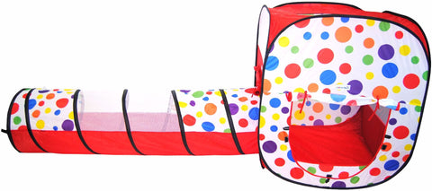 Polka Dot Rectangular Twist Play Tent w/ Safety Meshing & Tunnel: 2 Piece - eWonderWorld