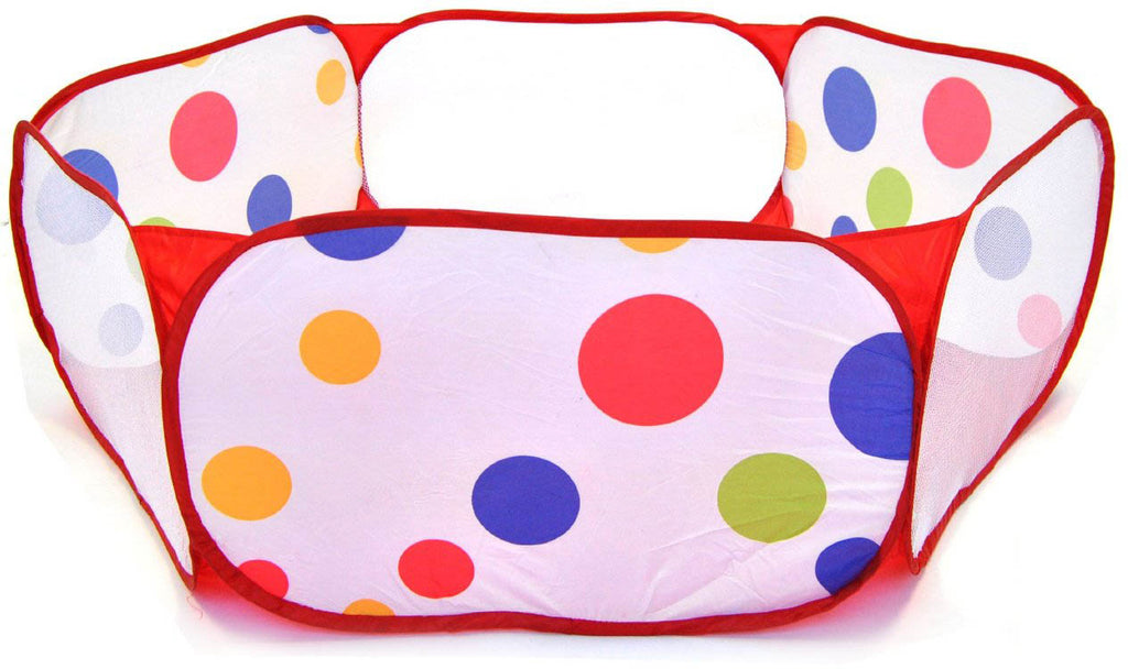 Polka Dot Hexagon Playpen w/ 100 Rainbow Invisiballs Ball Pit Balls - eWonderWorld