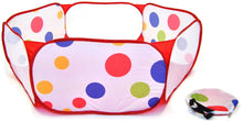 Hexagon Polka Dot Children Twist Playpen w/ Safety Meshing for Child Play Visibility & Carry Tote