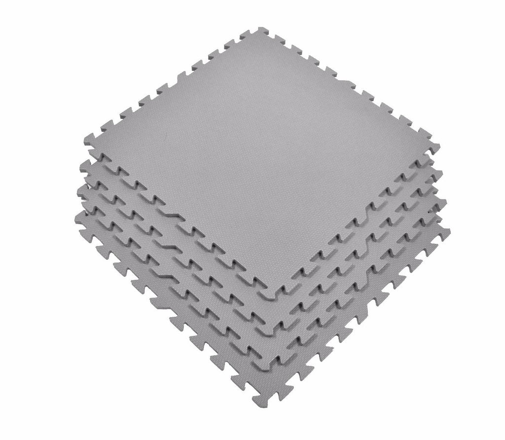 Non-Toxic Large GRAY Interlocking Foam Floor Mats (Set of 4) - eWonderWorld