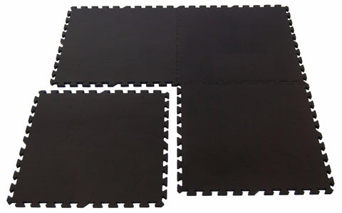 Non-Toxic Large BLACK Interlocking Foam Floor Mats (Set of 4) - eWonderWorld