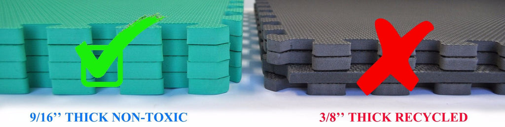 Non-Toxic Large GREEN Interlocking Foam Floor Mats  (Set of 4) - eWonderWorld
